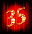 gold numbers 35 greeting card vector image vector image