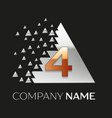 golden number four logo in silver pixel triangle vector image vector image