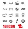 grey cinema icon set vector image