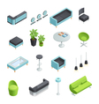 Hall Interior Isometric Icons vector image vector image