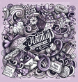 holiday hand drawn doodles vector image vector image