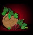 Keg and grapes vector image vector image