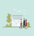 mini people with calendar reminder vector image vector image