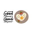 morning breakfast with omelette egg in heart shape vector image