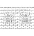 old brick wall with barred windows hand drawing vector image