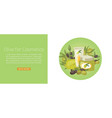 organic olive oil for cosmetics with olive fruits vector image vector image
