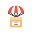 parcel box with parachute delivery concept flat vector image vector image
