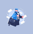 postman with bag delivering letters vector image vector image