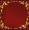 red background with golden leaves in circle vector image