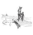 reynard the fox walking with grimbard vintage vector image vector image