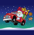 santa claus drive a truck full of christmas gift vector image