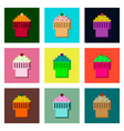 set pixel icons of fruit muffin vector image