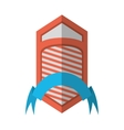 shield emblem stripes blue ribbon shadow vector image