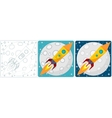 Space rocket on moon background Set vector image vector image