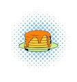 Stack of pancakes icon comics style vector image vector image