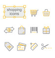 thin line icons yellow set shopping vector image vector image