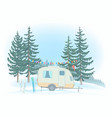 travel trailer parked in glade winter forest vector image vector image