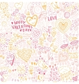 Valentines day seamless sketch pattern vector image