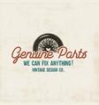 vintage car service label design genuine parts vector image vector image