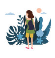 young girl in a green t-shirt with a backpack goes vector image vector image