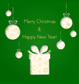 abstract green christmas balls and gifts cutted vector image