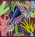 abstract seamless pattern zebra in jungle vector image vector image