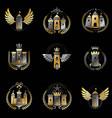ancient fortresses emblems set heraldic coat of vector image vector image