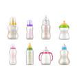 baby feeding bottles milk feeders realistic 3d vector image