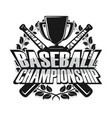 baseball championship monochrome vector image vector image