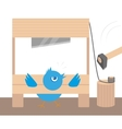 blue angry bird in guillotine vector image