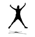 boy jump with hands up shadow silhouette vector image