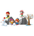 children playing with snow in the field vector image vector image