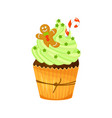 christmas and new year cupcake with gingerbread vector image vector image