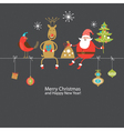 Christmas card with funny company vector | Price: 3 Credits (USD $3)