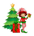 Christmas theme with tree and elf vector image vector image