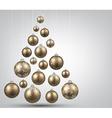 Christmas tree with golden christmas balls vector image vector image