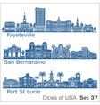 cities usa - san bernardino fayetville port vector image vector image