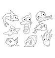 Collection of marine animals vector image vector image