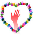 colorful hands holding forming heart vector image vector image