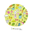 cute cartoon rabbit girl and set of garden objects vector image