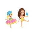 cute little kid with rubber swimming ring funny vector image vector image