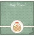 easter card in vintage style - basket easter eg vector image