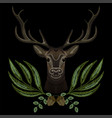 forest deer face with geen wreath vector image vector image