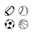 Four simple black icons of balls for rugby soccer vector image vector image