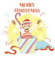 Funny Merry Christmas card with monkey jumping out vector image