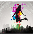 girl jumping over city vector image vector image
