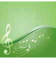 green background - curved music notes vector image vector image