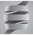 Grey fabric curved ribbon on grey background vector image vector image