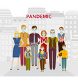 group people in medical protective masks vector image vector image
