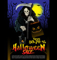 halloween sale offer poster design concept vector image vector image
